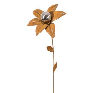 Design Edelstahl Gartenstecker Edelrostblume MIRROR Goldstern S
