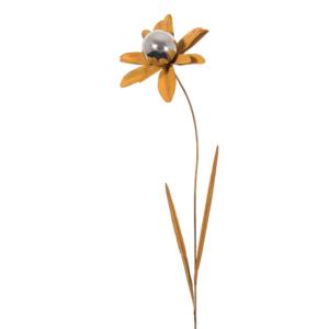 Design Edelstahl Gartenstecker Edelrostblume MIRROR Gänseblümchen S