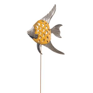 Design Edelstahl Fisch Gartenstecker Edelroststange MIRROR Fisch