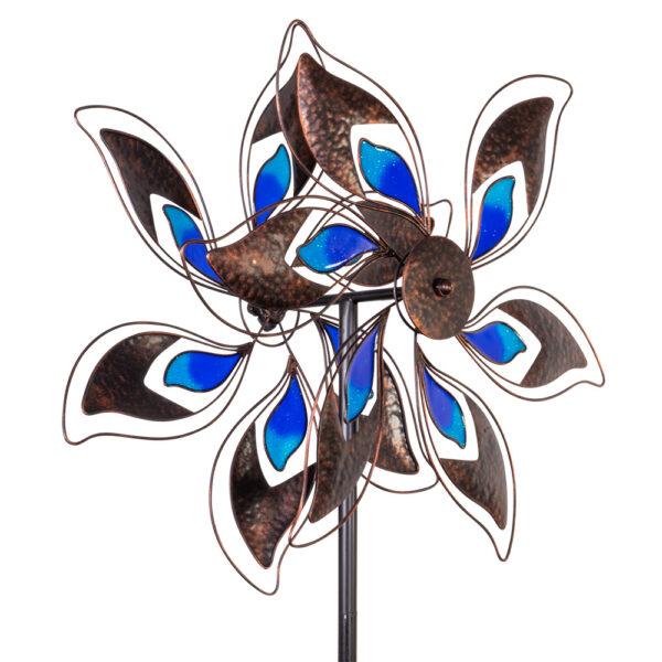 Doppelwindrad Blumenwindrad Kinetic Spinner Pacific - Metall Windspiel Blume - bewegliches Gartenobjekt