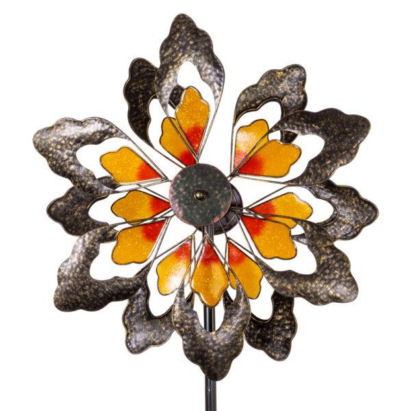 Blumenwindrad Kinetic Spinner Sunny - Metall Windspiel Blume 57cm - tolle Effekte mit Acryl!