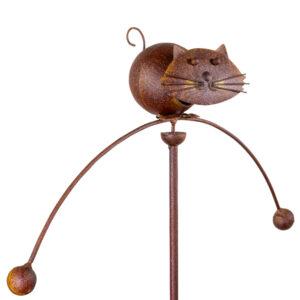 Edelrost Gartenpendel Katze Pendelwindspiel mit Katzenkopf federnd - Gartenstecker Tierpendel