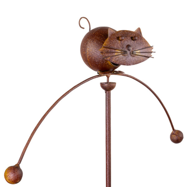 Edelrost Gartenpendel Katze Pendelwindspiel mit Katzenkopf federnd