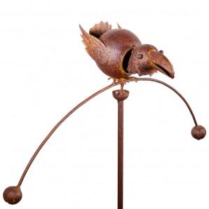 Edelrost Gartenpendel Vogel Tierpendelwindspiel mit Kopf federnd