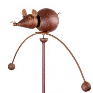 Edelrost Gartenpendel Maus Tierpendelwindspiel mit Kopf federnd