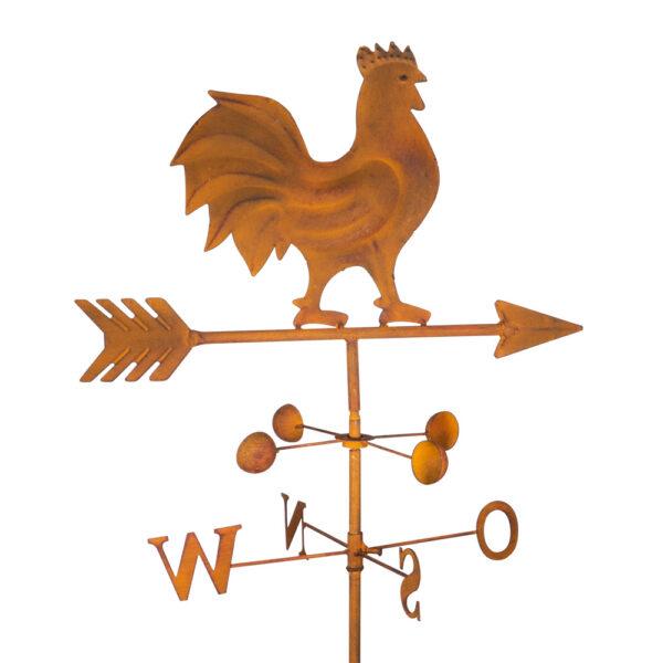 Edelrost Gartenstecker Wetterhahn Windrichtungsanzeiger Windspiel mit Windschaufeln