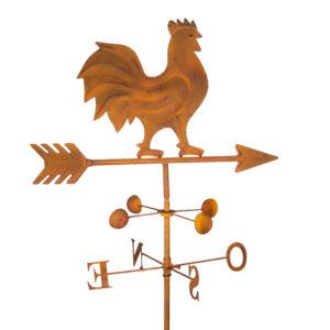Girouette métallique coq - finition rouillée - Edelrost Gartenstecker Wetterhahn