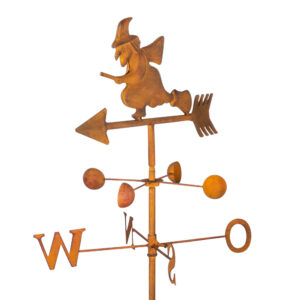 Edelrost Gartenstecker - Wetterhexe Windrichtungsanzeiger Windspiel mit Windschaufeln
