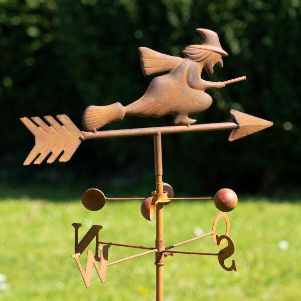 Edelrost Gartenstecker - Wetterhexe Windrichtungsanzeiger N O S W Windspiel mit Windschaufeln