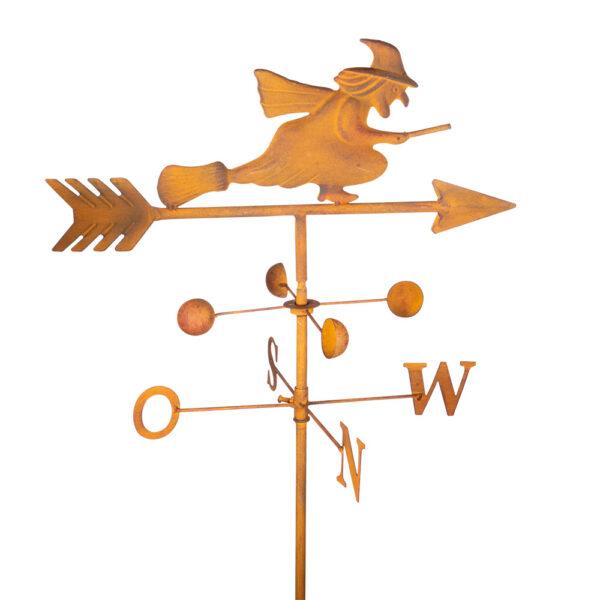 Edelrost Gartenstecker Hexe Wetterhexe Windrichtungsanzeiger N O S W Windspiel mit Windschaufeln