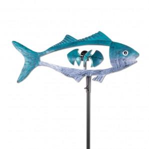 Metall Windrad Fisch, blau Fischwindspiel mit 5 Windschaufeln in Schuppenform