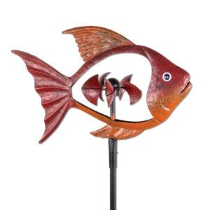 Metall Windrad Fisch, rot Fischwindspiel mit 5 Windschaufeln in Schuppenform