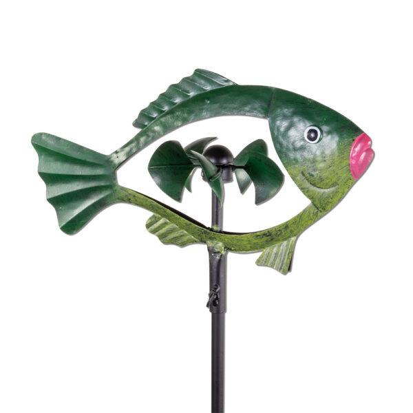 Metall Windrad Fisch, grün Fischwindspiel mit 5 Windschaufeln in Schuppenform