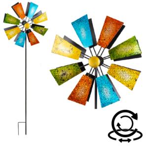 Regenbogen Doppelwindrad Glitter Metallwindrad Windspiel mit 2 Windräder