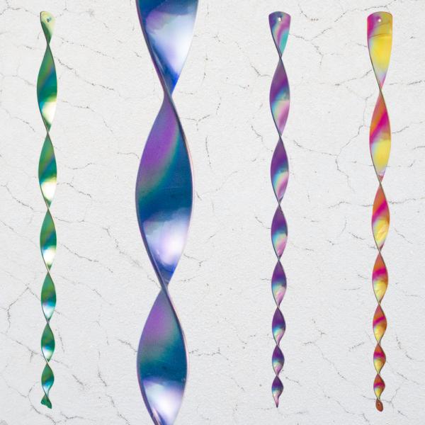 Windspiel Acrylglas Pirouetten Perlmutt Mix Colour (4 Stck.) - wetterfest und lichtreflektierend inkl. Aufhängung