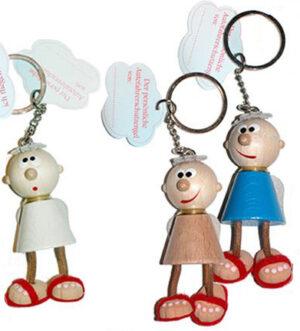 Holz Schlüsselanhänger Schutzengel Charly - Charlie Autofahrerschutzengel am Schlüsselring