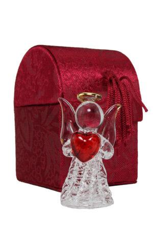 Glas Engel - Dein Schutzengel mit Herz oder betend - Kristallengel in roter Samtbox und Schutzbrief