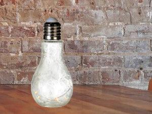 Dekoleuchte Glühbirne, Glas, weiß, satiniert, Frostoptik – mit 10er LED-Lichterkette – Glühbirne Lampe zum Aufhängen und Stellen.