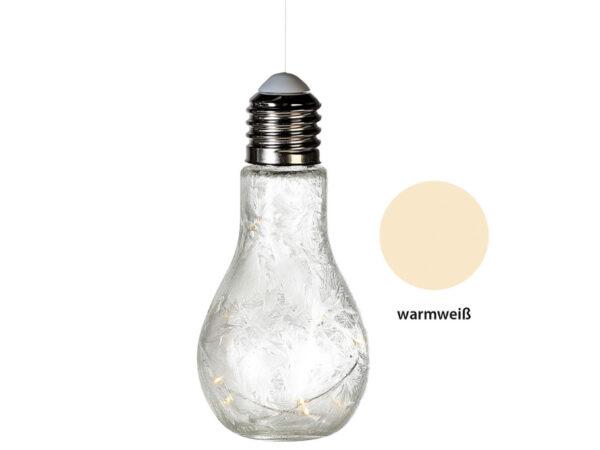 Dekoleuchte Glühbirne, Glas, weiß, satiniert, Frostoptik – mit 10er LED-Lichterkette – zum Aufhängen und Stellen