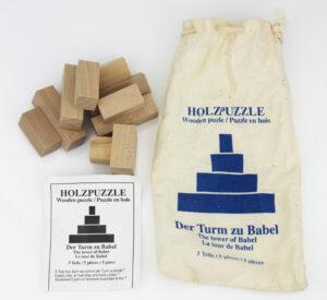 Der Turm zu Babel - Holz Knobelpuzzle im umweltfreundichen Packsack - Geduldspiel 5 Teile
