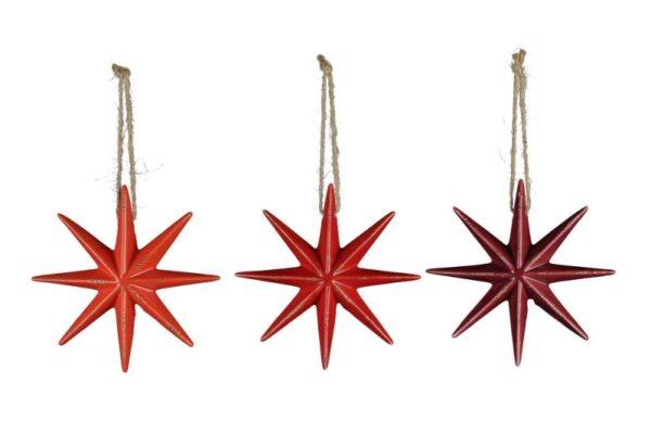 Dolomit Stern rot Weihnachtsbaumhänger - 8 zackiger Stern