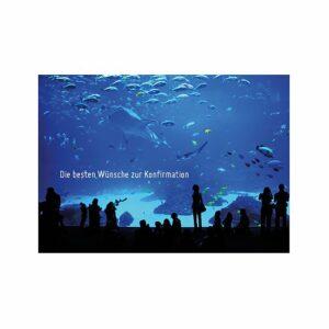 Doppelkarte Beste Wünsche zur Konfirmation - Aquarium Effektkarte K0420