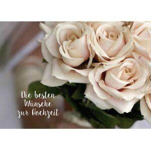 Doppelkarte Die besten Glückwünsche zur Hochzeit - weiße Rosen K0366