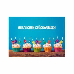 Doppelkarte Herzlichen Glückwunsch - Muffins mit Kerzen