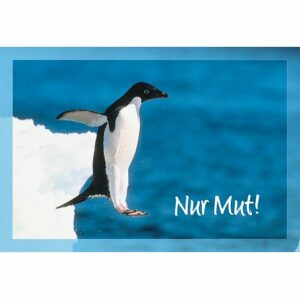 Doppelkarte Nur Mut - Süße Karte mit Pinguin für Kinder KK082