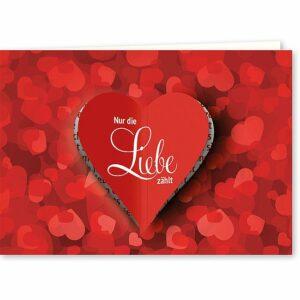 Doppelkarte Nur die Liebe zählt - mit ausgestanztem Herz K0450