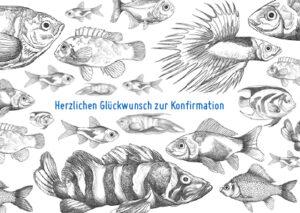 Doppelkarte zur Konfirmation - Fisch Effektkarte K0415
