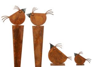 Edelrost Vogel Gartendeko - Vogel Gartenstecker und Figur
