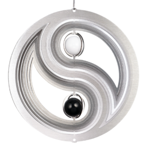 Edelstahl Windspiel YIN YANG 200 - Mobile Spirale Ø 200 mm mit 2 Glaskugel, inkl. Kugellagerwirbel, Haken, 1m Nylonschnur