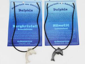 Edelstein Delfin Kette - Sternzeichen Delfin Anhänger