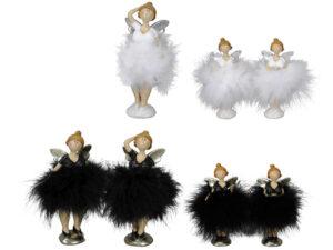 Engel Figur mit Plüsch Kleid - Molly Ballerina Federkleid Engel.