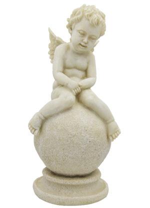 Engel auf Kugel sitzend, Engel Skulptur 25cm, Engelsfigur antikweiß