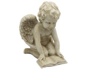 Engel mit Buch - Schutzengel lesend Engelsfigur aus Resin 14 cm