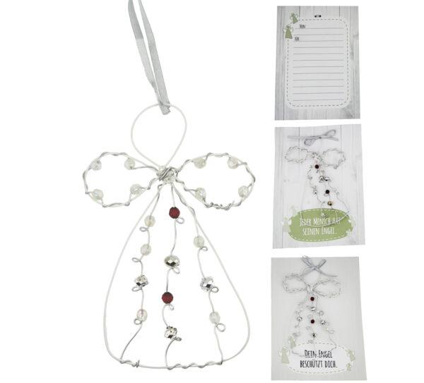 Engelkarte- persönliche Schutzengel Karte Grußkarte mit Engel Geschenkanhänger- Perlenengel, Drahtengel