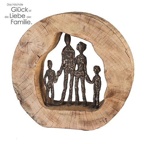 Skulptur Familie Mangoholz - Holz Kreis Skulptur Familie