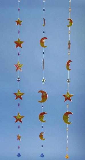 Suncatcher Fenstergirlande Windspiel Mond+Sterne 98cm