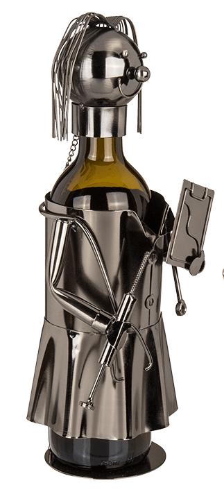 Flaschenhalter Arzt Skulptur Ärztin, Hausarzt - Flaschenständer Doktorin - Medizinerin - Seitenansicht