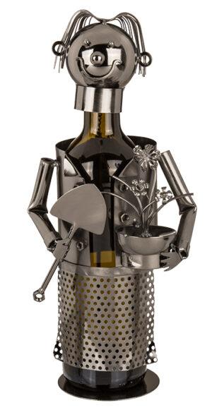 Flaschenhalter Gärtner Skulptur Weinflaschenhalter Gärtnerin aus Metall