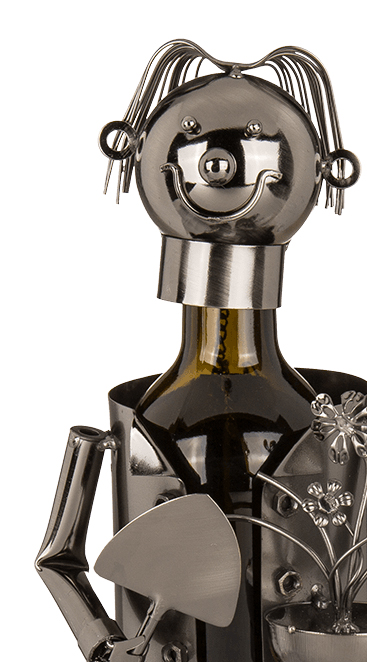 Flaschenhalter Gärtner Skulptur Weinflaschenhalter Gärtnerin aus Metall - Detailansicht