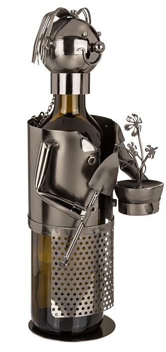 Flaschenhalter Gärtner Skulptur Weinflaschenhalter Gärtnerin aus Metall - Seitenansicht