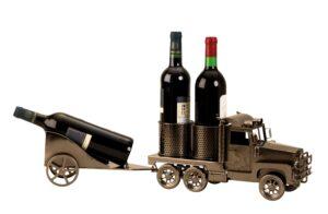 Flaschenhalter LKW Skulptur - Metall Truck Weinflaschenhalter für 3 Flaschen 5565