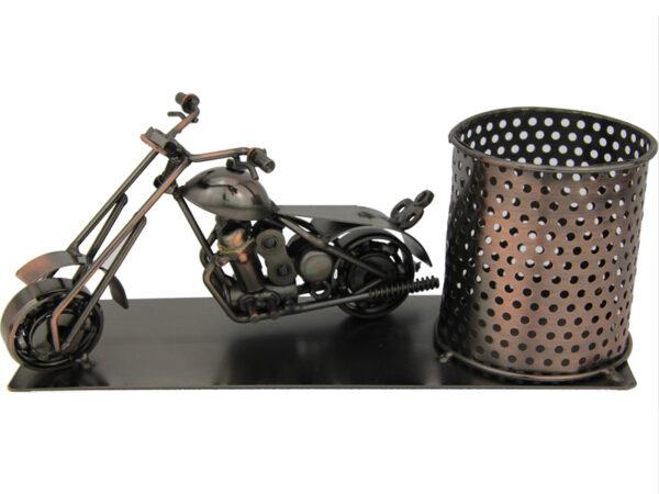 Flaschenhalter Motorrad Skulptur – Piccolo Weinflaschenhalter, Bierhalter, Stifteköcher aus Metall – Harley – Chopper