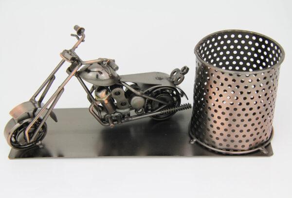 Flaschenhalter Motorrad Skulptur – Piccolo Weinflaschenhalter, Bierhalter, Stifteköcher aus Metall – Harley Chopper