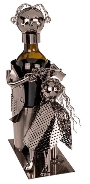 Flaschenhalter Skulptur Friseur mit Kundin - Flaschenkiste metallische Barber mit Client