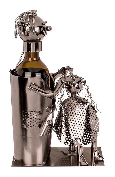 Flaschenhalter Skulptur Friseur mit Kundin - Flaschenkiste metallische Barber mit Client Seitenansicht