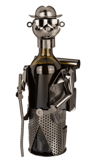 Flaschenhalter Wanderer Skulptur - Weinflaschenhalter aus Eisen - Flaschenständer